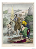 John Baptises Jesus While the Holy Dove Hovers Overhead Giclée-tryk
