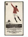 Footballer Leaps for the Ball on a Poster for a Norwegian Sports Calendar Giclée-Druck