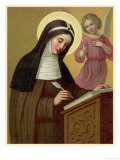 Saint Brigid Irish Abbess Depicted Receiving Help with Her Writing from an Angel Giclée-tryk