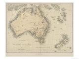 Karte von Australien and New Zealand Giclée-Druck