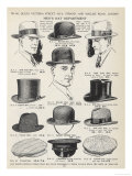 A Variety of Men's Hats Giclee Print