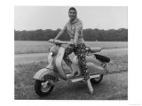 Girl Wearing a Headscarf and Jazzy Slacks Models a Lambretta Ld 125 Mark IV Scooter Giclee Print
