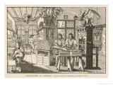Flat-Bed Press and Other Equipment of a German Printer's Workplace Giclée-Druck von Abraham Von Werdt