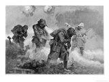 British Troops Transporting Ammunition During Gas Attack Led by 2nd Lieutenant E.M. Allfrey Giclée-Druck von J.h.valda Valda