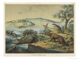 Animals and Plants of the Post-Jurassic Era in Southern England Giclée-Druck von Ferdinand Von Hochstetter