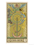Tarot: 10 La Roue de Fortune, The Wheel of Fortune Giclee Print by Oswald Wirth