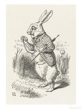 The White Rabbit Checks His Watch Giclee-trykk av John Tenniel
