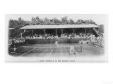 Men's Singles Match on Centre Court at Wimbledon Giclée-tryk