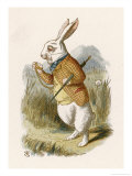 Alice and the White Rabbit Giclée-tryk af John Tenniel