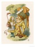 Alice Plays Croquet with the Duchess Using a Flamingo Stampa giclée di Tenniel, John