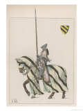 Knight in Battle-Dress with Lance Giclée-Druck von L. Vallet