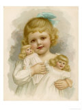 Little Girl with a Blue Ribbon in Her Hair Clutching Her Dolls Giclee Print by Ida Waugh