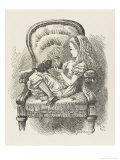Black Kitten Alice and the Black Kitten Stampa giclée di Tenniel, John
