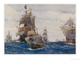 The Spanish Armada the Spanish Fleet in the Bay of Biscay on Its Way to Attack England Giclee Print by Norman Wilkinson