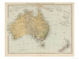 Map Showing Australia Tasmania New Zealand and Neighbouring Islands Giclée-Druck