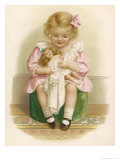 Little Girl in a Pink Dress with a Pink Ribbon in Her Hair Dresses Her Doll Reproduction procédé giclée par Ida Waugh