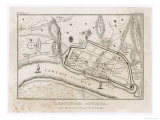 Map Showing Roman London (Londinium) with Its Grid of Straight Roads Lámina giclée