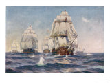 Nelson's Flagship at the Battle of Trafalgar 21 October 1805 Giclée-tryk af Norman Wilkinson