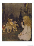 Goldilocks Gives Three Teddy Bears a Talking-To Reproduction giclée Premium par Jessie Willcox-Smith