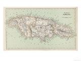 Carte de la Jamaïque Reproduction procédé giclée