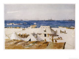 "The Welsh Casualty Clearing Station on ""A"" Beach Suvla Bay Giclee Print by Norman Wilkinson"