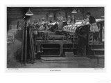 Men Working at Printing Presses Under the Glare of Electric Light Giclée-Druck von Susan Varley