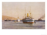 Hospital Carrier Ships Transporting Wounded from the Mainland to Rest Camps Giclee Print by Norman Wilkinson