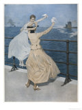 Two German Ladies Wave Farewell to a U-Boat Giclee Print by B. Wennerberg