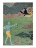 Rama the 7th Avatar of Vishnu Slays Maricha Who Has Assumed the Form of a Deer Giclée-Druck von K. Venkatappa