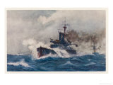 Warship of the Royal Navy Depicted at Speed in a Heavy Sea Giclee Print by Norman Wilkinson