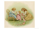 Doll is Dressed by Two Girls One in Front of Her While the Other Ties Her Sash Behind Giclee Print by Ida Waugh