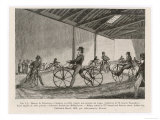 Englishmen Learn to Ride Johnson's Pedestrian Hobby Horse at the Riding School in the Strand London Giclee Print