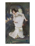 """""""The Curse is Come Upon Me"""" Cried the Lady of Shalott Giclée-tryk af John William Waterhouse"""