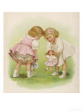 Two Very Small Girls Introduce Their Dolls to Each Other Giclee Print by Ida Waugh
