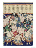 Group of Burly Sumo Wrestlers with Their Oiled Hair in Top Knots and the Yokozuna Giclee Print