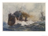 River, Class Destroyer at Speed Its Four Funnels Belching Smoke as She Races Past a Warship Giclee Print by Norman Wilkinson
