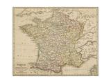 Map of France Showing the Departements Reproduction procédé giclée