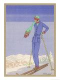 She Pauses Before Embarking on the Piste in Her Elegant Ski Costume ジクレープリント : ゼリンジャー