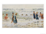 Swimmers Enjoying the Breakers on an Australian Beach Giclée-tryk af Percy F.s. Spence