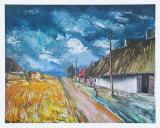 Thatched Cottages at the Roadside Posters av Maurice Vlaminck