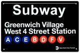 U-Bahn Greenwich Village – West 4 Street Blechschild