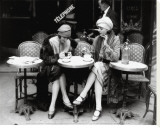Women Sitting at a Cafe Terrace Stretched Canvas Print