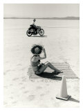 Salt Flat Motorcycle Pin up Poster Giclee Print by David Perry