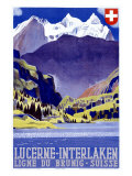 Swiss Alps Lucerne Travel Poster Giclée-Druck