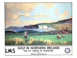Golf in Northern Ireland, LMS Poster, circa 1925 ジクレープリント : ノーマン・ウィルキンソン