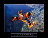Teamwork: Skydivers Print