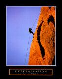 Vastberadenheid, Klimmer op rotswand, met de Engelse tekst: Determination Poster