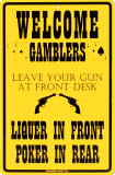 Welcome Gamblers Placa de lata