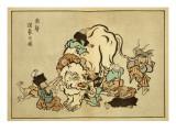 Blind Monks Examining an Elephant Plakat af Itcho Hanabusa