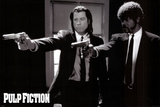 Pulp Fiction –  Duo with Guns (Jackson and Travolta) B & W Movie Poster Prints